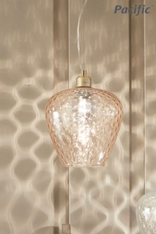 Almada Textured Blush Coloured Glass Electrified Pendant by Pacific Lifestyle