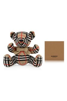 Beige Check Wool Knitted Bear