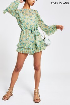 River Island Green Printed Long Sleeved Ruffle Playsuit