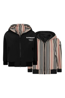 Boys Black & Icon Stripe Reversible Jacket