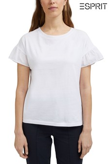 Esprit White Frill Sleeve T-Shirt