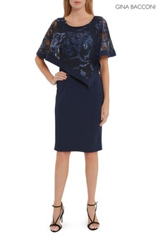 Gina Bacconi Blue Evana Dress With Lace Cape