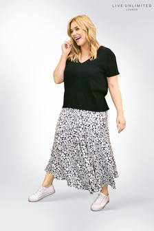 Live Unlimited Black Mono Non Print Viscose Morrocain Skirt