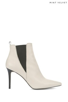 Mint Velvet Riley Off White Kitten Heel Boots