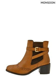 Monsoon Tan Beryl Brogue Buckle Leather Boots