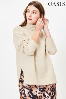 Oasis Natural Ribbed Polo Neck Jumper