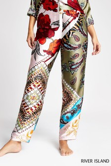 River Island Green Print Poppy Trousers
