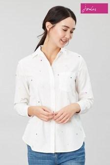 Joules White Lorena Luxe Longline Woven Shirt