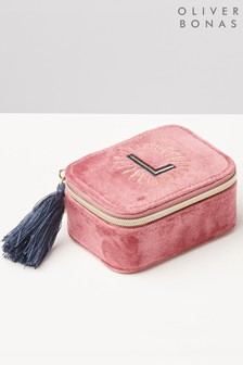 Oliver Bonas Sol Pink Velvet Alphabet L Travel Jewellery Box