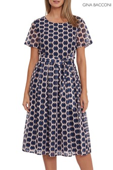 Gina Bacconi Blue Eloriah Geometric Print Dress