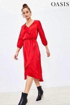 Oasis Pink Satin Frill Wrap Midi Dress