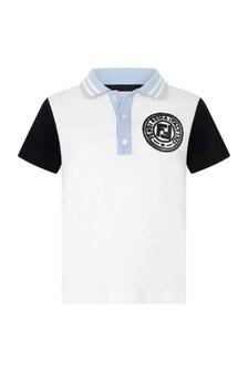 Boys White And Blue Cotton Polo Top