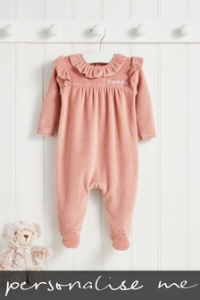 Personalised Pink Sparkle Velour Sleepsuit