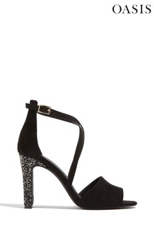 Oasis Black Crystal Embellished Heels
