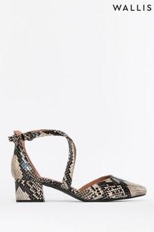 Wallis Animal Cara Snake Cross Strap Pointed Block Heel Court Shoes