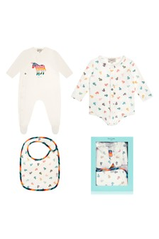 Baby Boys White Cotton Babygrow & Bib Gift Set