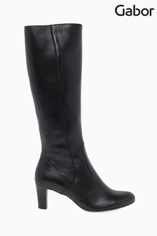 Gabor Black Maybe Slim Calf Fit Leather Long Leg Boots