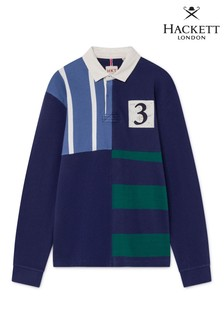 Hackett Blue Classic Sleeved Mixed Fabrication Rugby Shirt