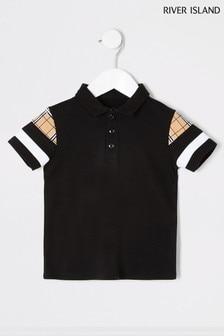 River Island Mini Boys Black Sleeve Blocked Poloshirt