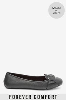 נעלי בלרינה בגזרה מרובעת עם אבזם