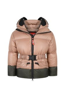 Girls Pink Metallic Down Padded Jacket With Detachable Full Mask