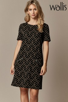 Wallis Natural Geometric Jacquard Shift Dress