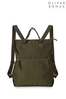 Oliver Bonas Green Baden Backpack Nylon Tote Bag