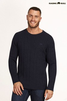 Signature Navy Cable Knit Crew