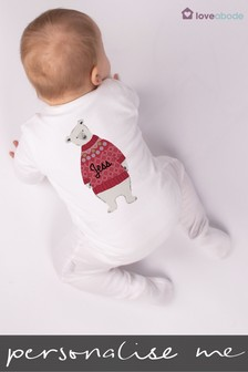 Personalised Polar Bear Sleepsuit by Loveabode