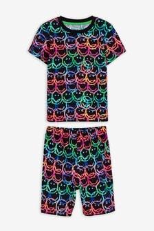 Fluro Face Print Short Pyjamas (9mths-12yrs)