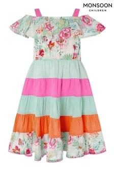 Monsoon Blue Bettie Floral Colourblock Dress