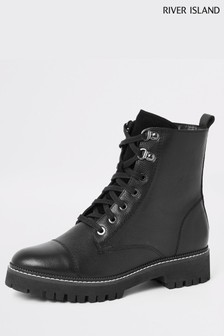 River Island Black Holly Mirza Lace-Up Chunky Boots