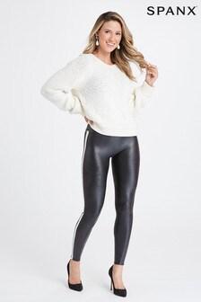 SPANX® Black Faux Leather Side Stripe Leggings