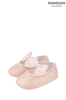 Monsoon Pale Pink Baby Leonie Leopard Booties