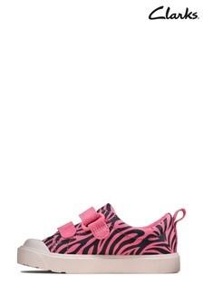 Clarks Pink Combi City Bright T Canvas Shoes