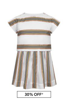 Burberry Kids Girls White Cotton Dress