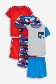 3 Pack Camouflage Print Short Pyjamas (9mths-12yrs)