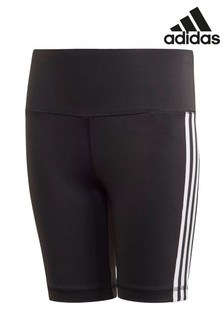 addas Black 3 Stripe Cycling Shorts
