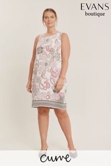 Evans Curve Ivory Paisley Shift Dress