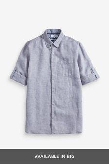 Cotton Linen Rich Roll Sleeve Shirt