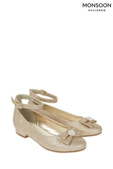 Monsoon Gold Rebecca Glitter Bow Shoes