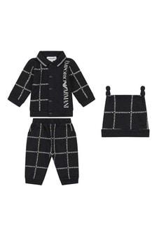 Baby Boys Navy Cotton Three Piece Trouser Set