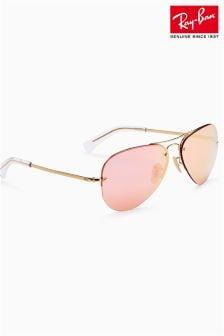 Ray-Ban® - 玫瑰金反光无框飞行员太阳眼镜