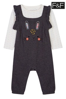 F&F Grey Bunny Knitted Dungarees