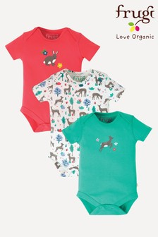 Frugi GOTS Organic Bodysuits Three Pack In Pink And Deer Print