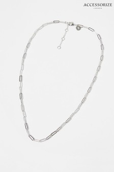 Accessorize Platinum Plated Paperclip Chain Necklace