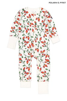 Polarn O. Pyret White Organic Cotton Rose Hip Print All-In-One