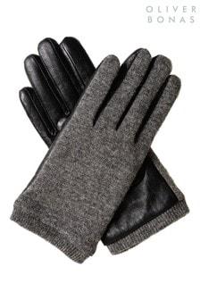 Oliver Bonas Grey Wool & Leather Finger Gloves