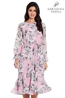 Adrianna Papell Floral Chiffon Ruffle Midi Dress