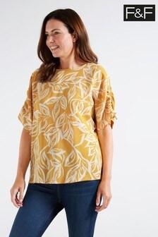 F&F Multi Yellow Ochre Leaf Drawstring Top